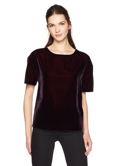 Calvin Klein Jeans Women's Short Sleeve Velvet Crew Neck T-Shirt deep Wine