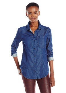 Calvin Klein Jeans Women's Slim Fit Indigo Denim Button Down Shirt  LARGE