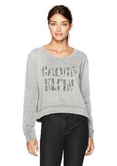 Calvin Klein Jeans Women's Soft Pigment Caviar Logo Crew Neck Sweatshirt