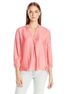 Calvin Klein Jeans Women's Solid 3/4 Sleeve Popover Blouse  LARGE