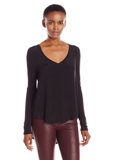 Calvin Klein Jeans Women's Solid Mixed Media Long Sleeve Top  MEDIUM