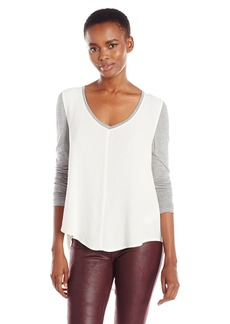 Calvin Klein Jeans Women's Solid Mixed Media Long Sleeve Top  SMALL