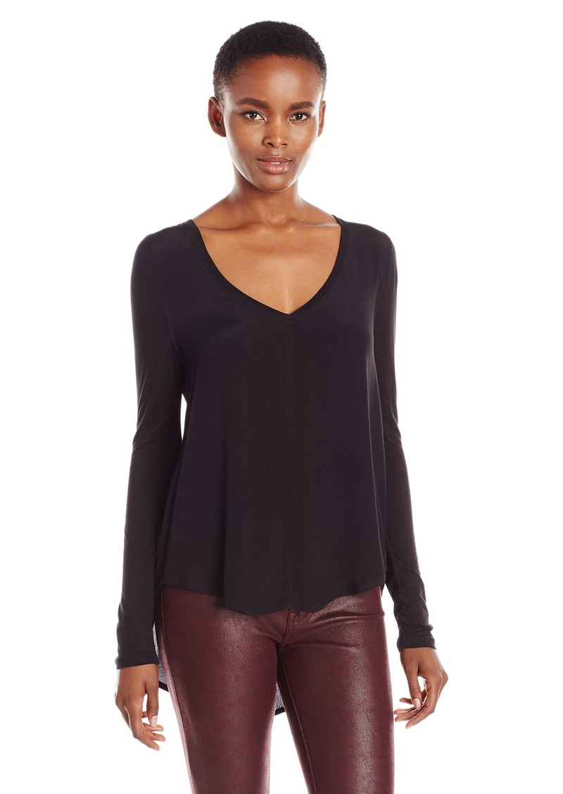Calvin Klein Jeans Women's Solid Mixed Media Long Sleeve Top