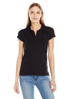 Calvin Klein Jeans Women's Solid Pique Polo Shirt  MEDIUM