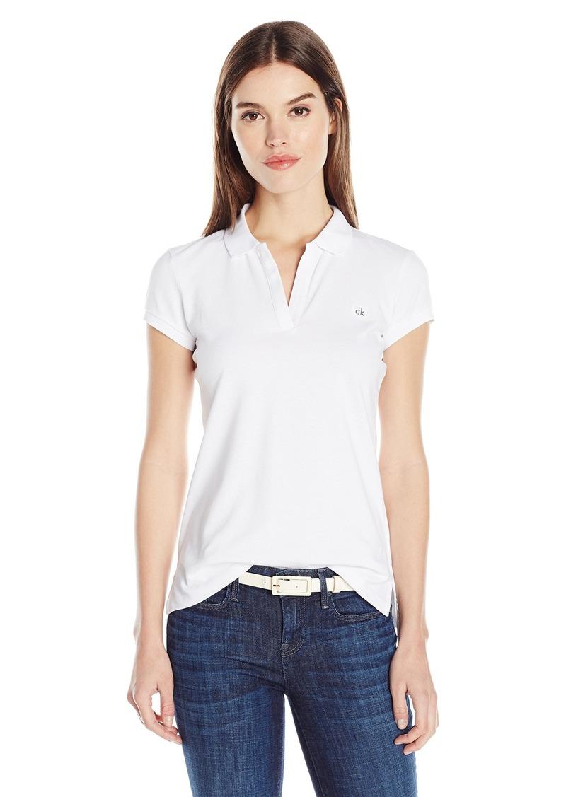 900582e7c56e Calvin Klein Calvin Klein Jeans Women s Solid Pique Polo Shirt White ...