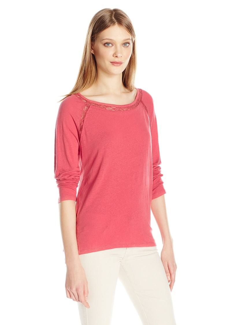 Calvin Klein Jeans Women's Solid Shirt with Lace Detail