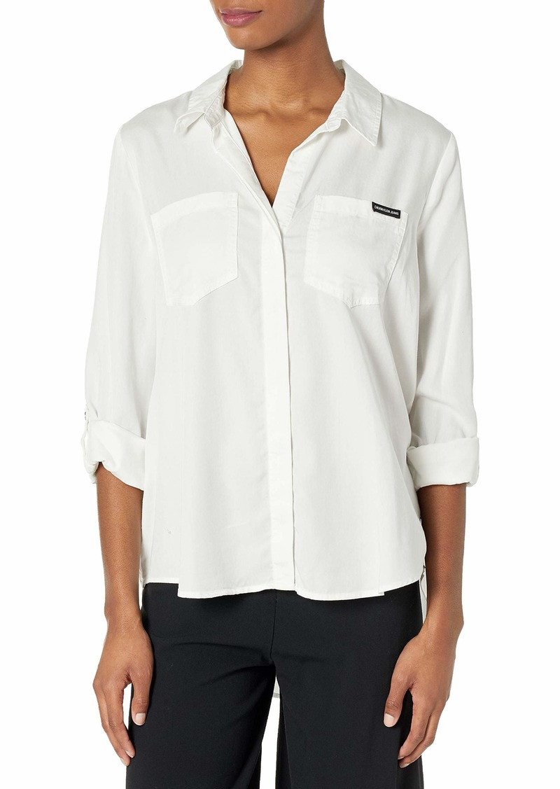 Calvin Klein Jeans Women's Split Hem Button Down Shirt with ROLL TAB Sleeves