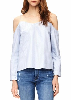 Calvin Klein Jeans Women's Stripe Oxford Blouse Cold Shoulder  XL