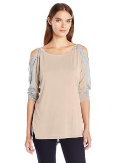 Calvin Klein Jeans Women's Color Block Cold Shoulder Long Sleeve Shirt