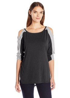 Calvin Klein Jeans Women's Color Block Cold Shoulder Long Sleeve Shirt