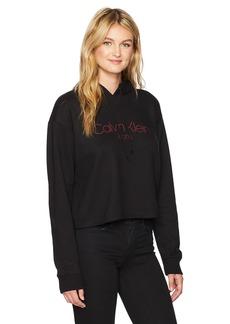 Calvin Klein Jeans Women's Text Logo Hoodie Sweatshirt  LARGE