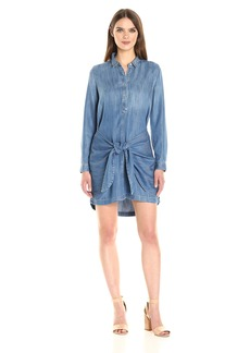 Calvin Klein Jeans Women's Tie Front Button Down Shirt Dress  X-SMALL