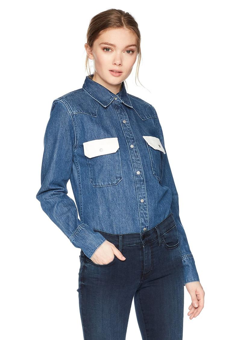 Calvin Klein Jeans Women's Western Lean Contrast Button Down Shirt