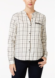 Calvin Klein Jeans Zippered-Pocket Plaid Shirt