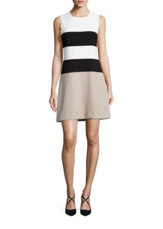 Calvin Klein Jewelneck Sleeveless Colorblock Dress