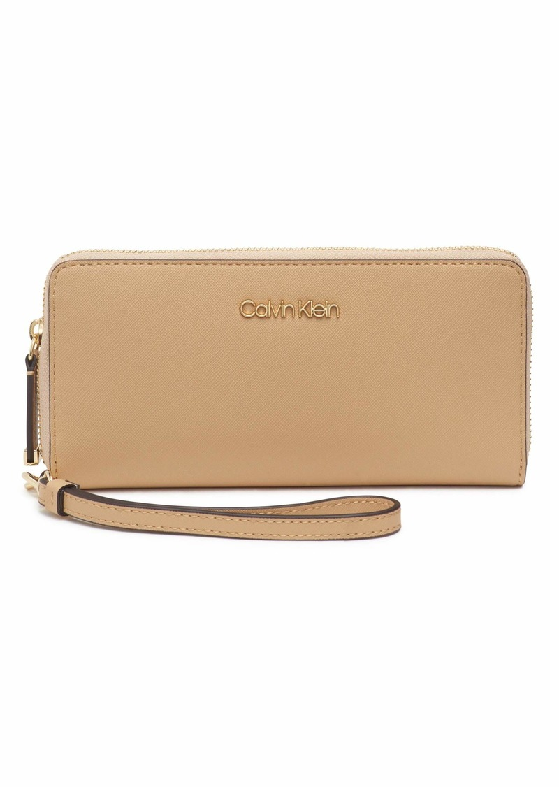 Calvin Klein Key Item Saffiano Continental Zip Around Wallet with Wristlet Strap RYE