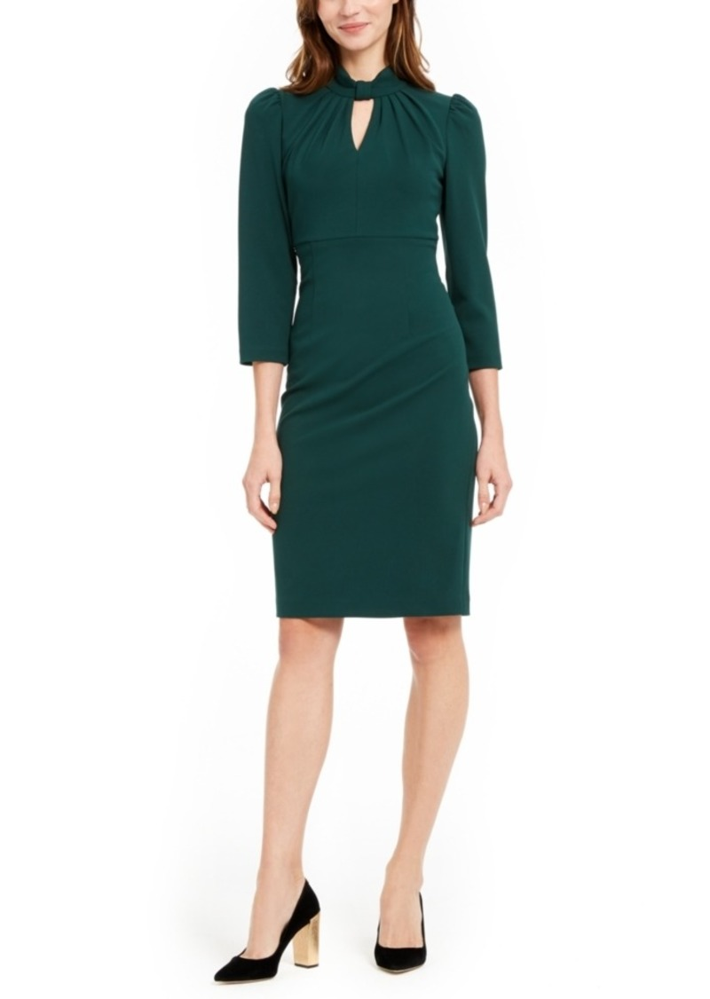Calvin Klein Keyhole Puff-Sleeve Dress