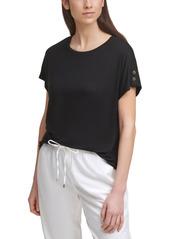 Calvin Klein Knit Button-Sleeve Top
