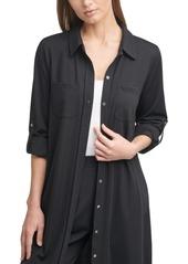 Calvin Klein Knit Button-Up Top