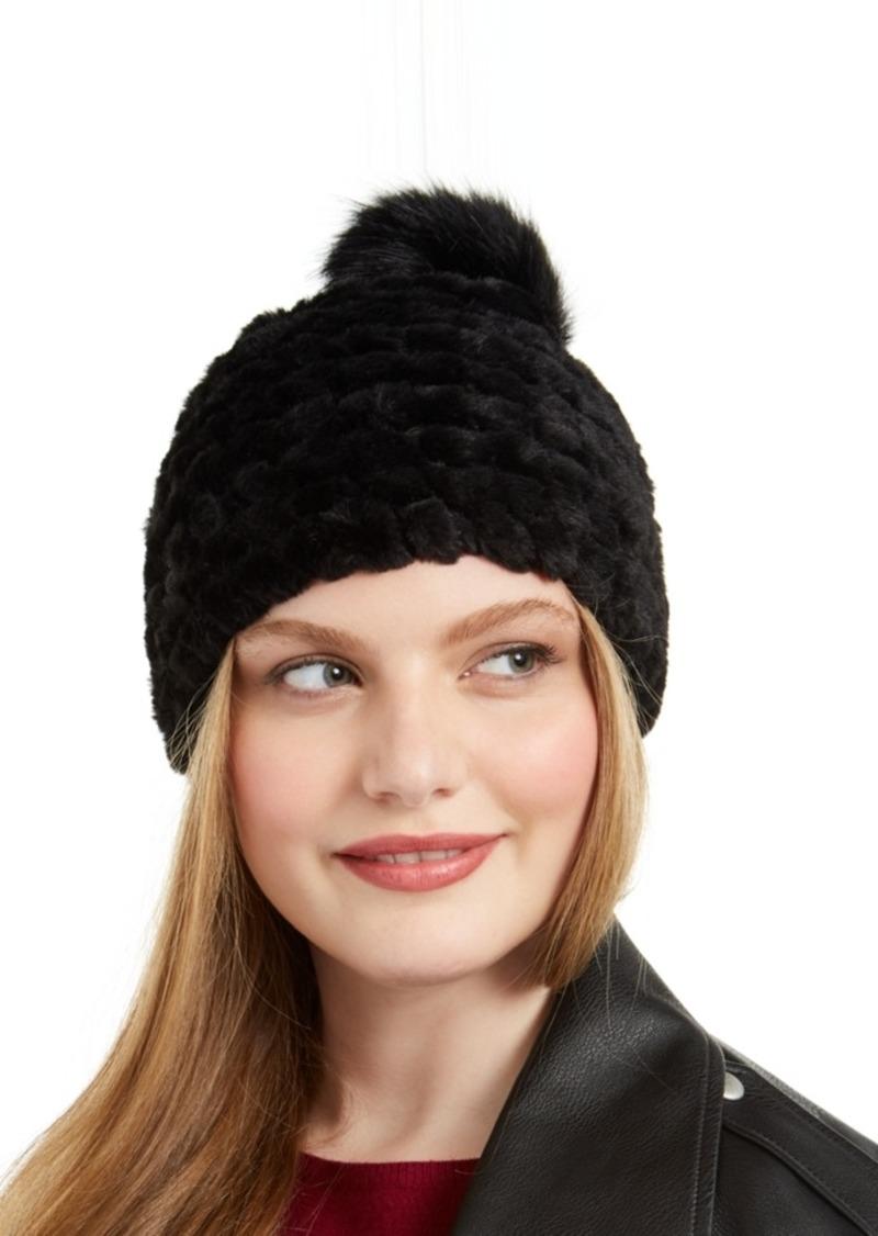 Calvin Klein Knit Faux Fur Pom Beanie