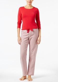 Calvin Klein Knit Top and Flannel Pajama Pants Set