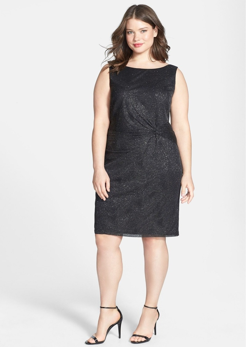 Calvin Klein Knot Detail Metallic Jersey Cocktail Dress (Plus Size)