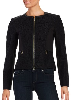Calvin Klein Lace-Accented Zip-Front Jacket