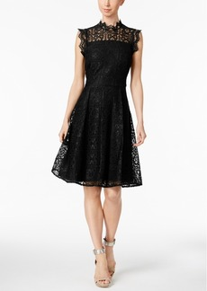 Calvin Klein Lace Cutout Fit & Flare Dress, Regular & Petite Sizes