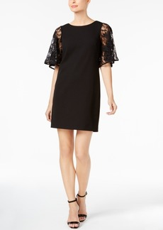 Calvin Klein Lace-Sleeve Scuba Crepe Dress