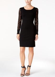 Calvin Klein Lace-Sleeve Sweater Dress