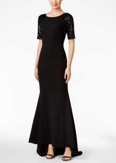 Calvin Klein Lace-Sleeve V-Back Gown