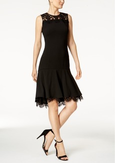 Calvin Klein Lace-Trim A-Line Dress, Regular & Petite Sizes