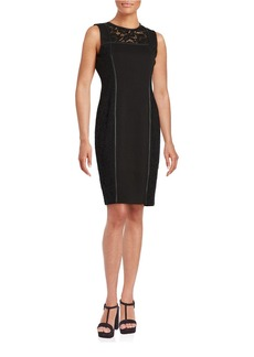 CALVIN KLEIN Lace-Trim Sleeveless Sheath Dress