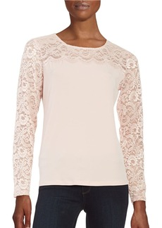 CALVIN KLEIN Lace-Trimmed Top