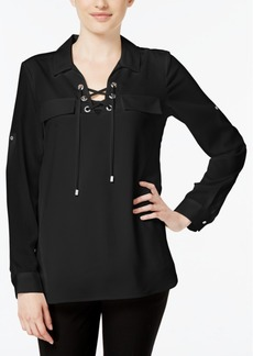 Calvin Klein Lace-Up Blouse
