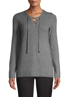 Calvin Klein Lace-Up Knit Sweater