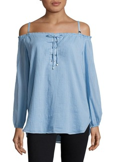 Calvin Klein Lace-Up Off-the-Shoulder Top