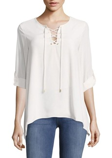 Calvin Klein Lace Up Roll Sleeve Top