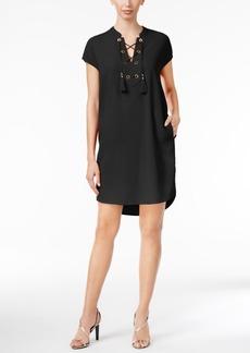 Calvin Klein Lace-Up Tassel Shift Dress
