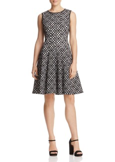Calvin Klein Laser-Cut Geo Fit-and-Flare Dress