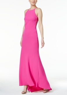 Calvin Klein Lattice-Trim Halter Gown