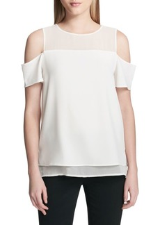 Calvin Klein Layered Cold-Shoulder Top