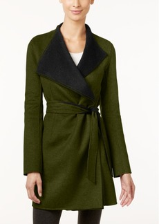 Calvin Klein Layered-Collar Belted Wrap Coat