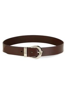 Calvin Klein Leather & Silvertone Belt