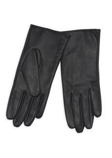 Calvin Klein Debossed Logo Leather & Suede Gloves
