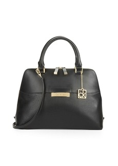 CALVIN KLEIN Leather Dome Satchel