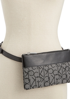 Calvin Klein Leather-Trim Signature Belt Bag