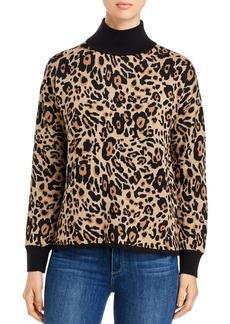 Calvin Klein Leopard Mock-Neck Sweater