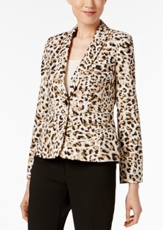 Calvin Klein Petite Leopard-Print Blazer