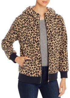 Calvin Klein Leopard-Print Faux-Fur Zip Hoodie